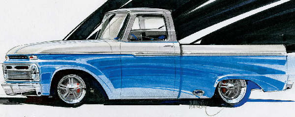 1965 Ford F100 art by Mike Miernik